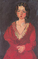 Woman in Red Against Blue Background c1928 By Chaim Soutine