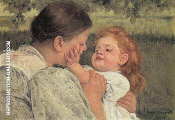 Maternal Caress 1896 By Mary Cassatt Replica Paintings on Canvas - Reproduction Gallery
