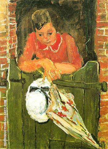 Woman Leaning with Umbrella c1934 By Chaim Soutine - Oil Paintings & Art Reproductions - Reproduction Gallery
