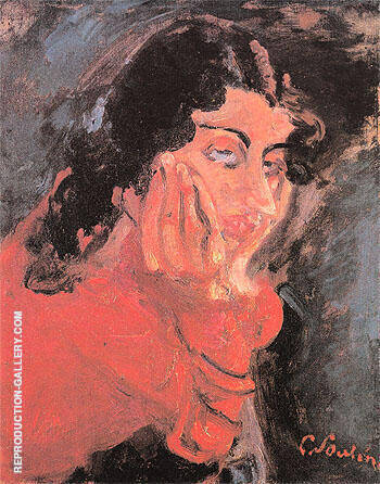 Woman Leaning c1937 By Chaim Soutine Replica Paintings on Canvas - Reproduction Gallery