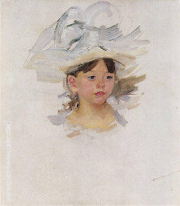 Sketch of Ellen Mary Cassatt in a Big Blue Hat c1905 By Mary Cassatt Replica Paintings on Canvas - Reproduction Gallery