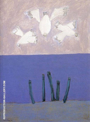 Birds Over Sea Sky 1957 By Milton Avery - Oil Paintings & Art Reproductions - Reproduction Gallery
