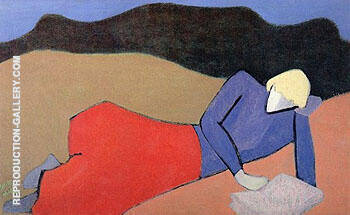 Reclining Reader 1950 By Milton Avery - Oil Paintings & Art Reproductions - Reproduction Gallery