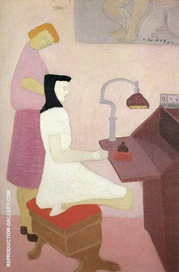 Two Figures at Desk 1944 By Milton Avery - Oil Paintings & Art Reproductions - Reproduction Gallery