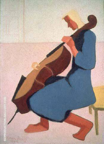 Cello Player in Blue 1944 By Milton Avery Replica Paintings on Canvas - Reproduction Gallery