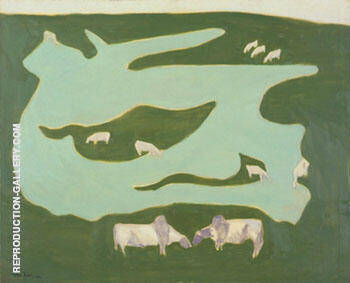 Reproduction of Grazing Brahmins by Milton Avery | Oil Painting Replica On CanvasReproduction Gallery