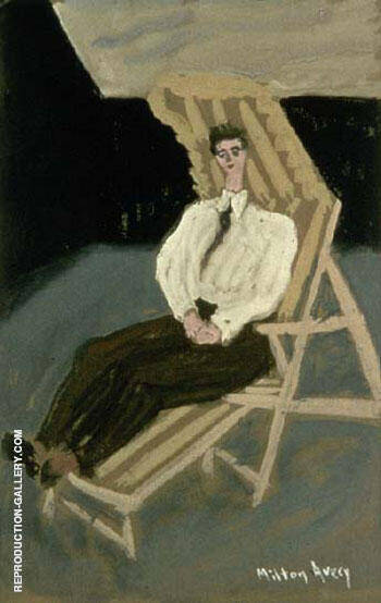 Seated Figure on Deck Chair 1942 By Milton Avery - Oil Paintings & Art Reproductions - Reproduction Gallery
