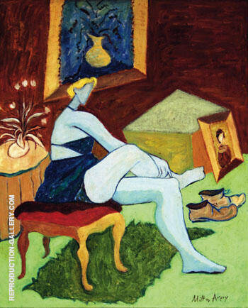 Reproduction of Seated Woman in Blue by Milton Avery | Oil Painting Replica On CanvasReproduction Gallery