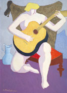 Nude with Guitar 1947 By Milton Avery