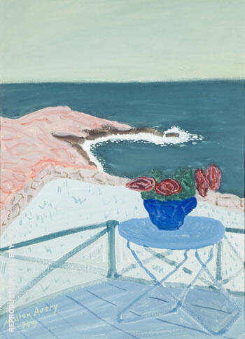 Red Flowers on a Terrace 1944 By Milton Avery - Oil Paintings & Art Reproductions - Reproduction Gallery