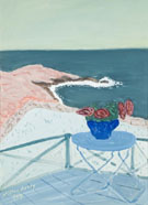 Red Flowers on a Terrace 1944 By Milton Avery