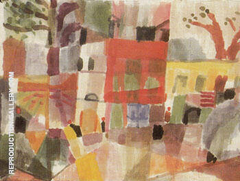 Red and Yellow Houses in Tunis 1914 By Paul Klee
