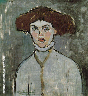 Head of a Young Woman 1908 By Amedeo Modigliani - Oil Paintings & Art Reproductions - Reproduction Gallery