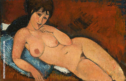 Reproduction of Nude on a Blue Cushion 1917 by Amedeo Modigliani | Oil Painting Replica On CanvasReproduction Gallery