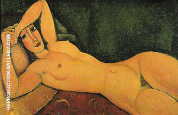 Reclining Nude with Left Arm Resting on Forehead 1917 By Amedeo Modigliani - Oil Paintings & Art Reproductions - Reproduction Gallery