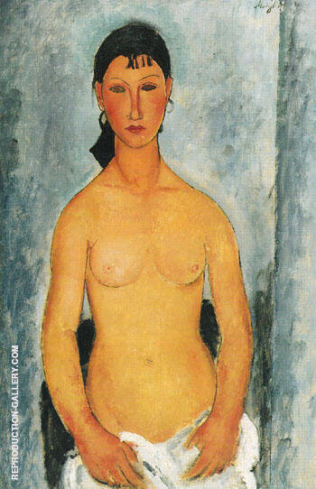 Standing Nude Elvira 1918 By Amedeo Modigliani - Oil Paintings & Art Reproductions - Reproduction Gallery