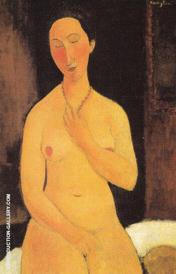 Seated Nude with Necklace 1917 Painting By Amedeo Modigliani