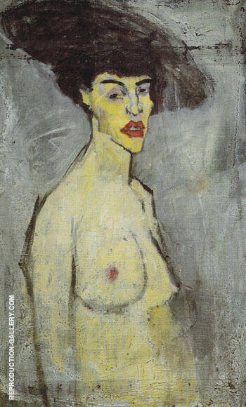 Female Nude with Hat 1907 Painting By Amedeo Modigliani