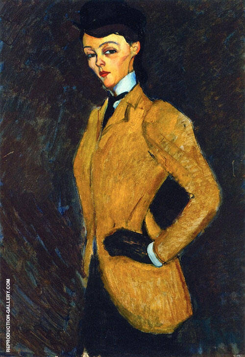 Reproduction of Woman in Yellow Jacket The Amazon 1909 by Amedeo Modigliani | Oil Painting Replica On CanvasReproduction Gallery