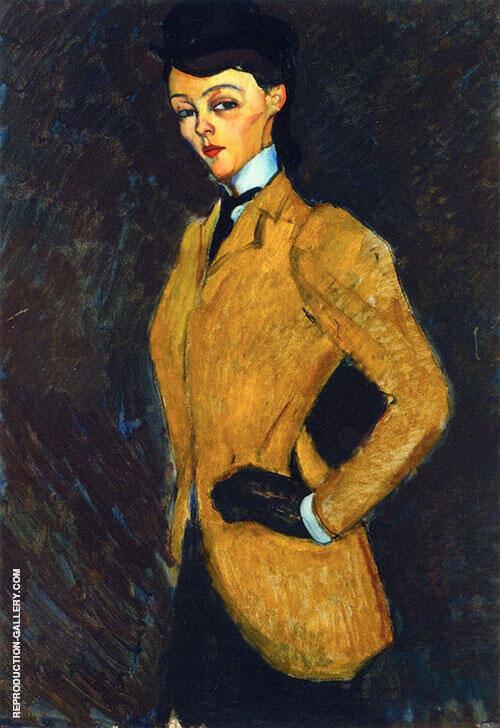 Woman in Yellow Jacket The Amazon 1909 By Amedeo Modigliani