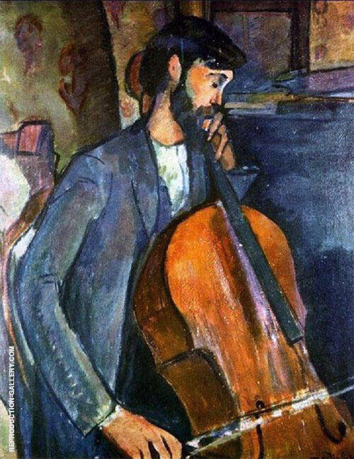 The Cellist 1909 By Amedeo Modigliani Replica Paintings on Canvas - Reproduction Gallery