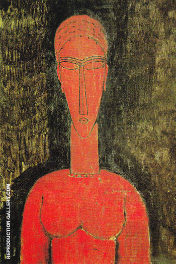 The Red Bust 1913 Painting By Amedeo Modigliani - Reproduction Gallery