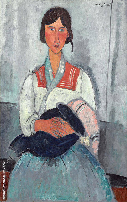 Gypsy Woman with Child 1919 Painting By Amedeo Modigliani