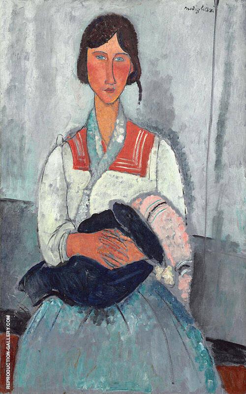 Gypsy Woman with Child 1919 By Amedeo Modigliani