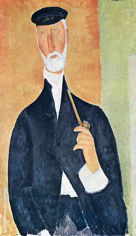 Man with Pipe The Notary of Nice 1918 By Amedeo Modigliani Replica Paintings on Canvas - Reproduction Gallery