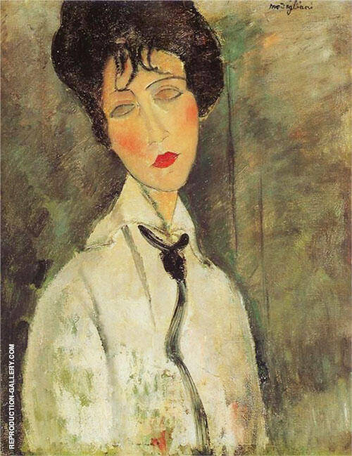 Reproduction of Woman in a Black Necktie 1917 A by Amedeo Modigliani | Oil Painting Replica On CanvasReproduction Gallery