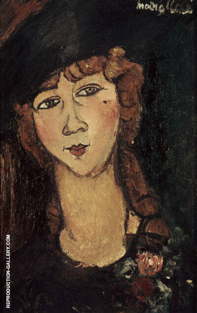 Head of a Woman in a Hat Lolotte c1916 By Amedeo Modigliani Replica Paintings on Canvas - Reproduction Gallery
