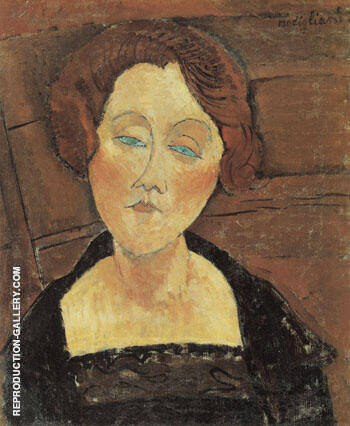 Woman with Red Hair and Blue Eyes 1917 Painting By Amedeo Modigliani