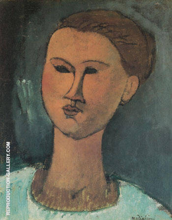 Head of a Woman 1915 By Amedeo Modigliani - Oil Paintings & Art Reproductions - Reproduction Gallery