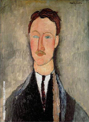Portrait of Leopold Survage c1917 By Amedeo Modigliani Replica Paintings on Canvas - Reproduction Gallery