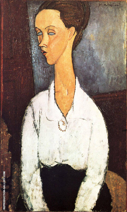 Portrait of Lunia Czechowska 1917 By Amedeo Modigliani Replica Paintings on Canvas - Reproduction Gallery