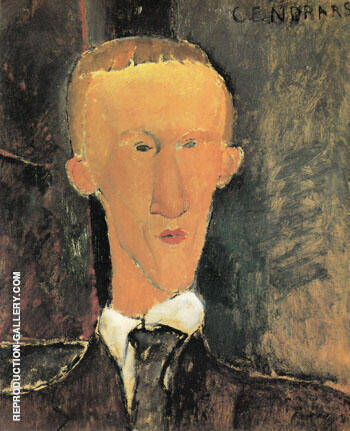 Portrait of Blaise Cendrars 1917 By Amedeo Modigliani - Oil Paintings & Art Reproductions - Reproduction Gallery