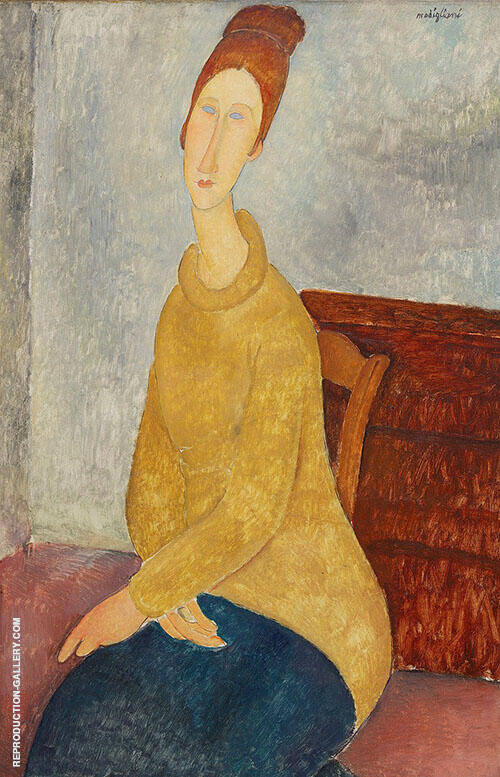 Jeanne Hebuterne with Yellow Sweater Painting By Amedeo Modigliani