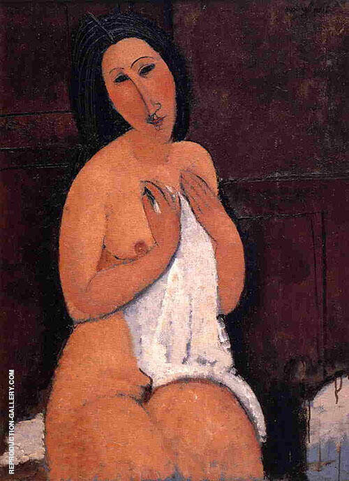 Seated Nude with a Shirt in Her Hands 1917 By Amedeo Modigliani Replica Paintings on Canvas - Reproduction Gallery