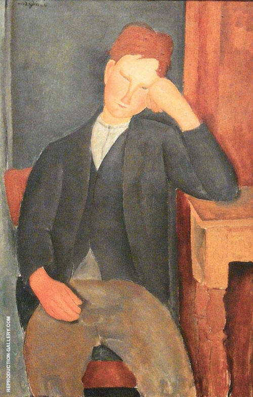 Young Peasant Leaning Against a Table 1918 By Amedeo Modigliani Replica Paintings on Canvas - Reproduction Gallery