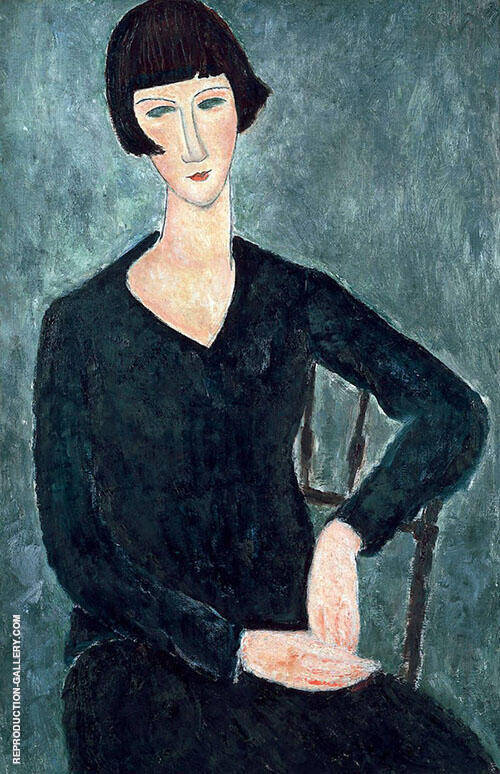 Seated Woman in Blue Dress 1918 Painting By Amedeo Modigliani