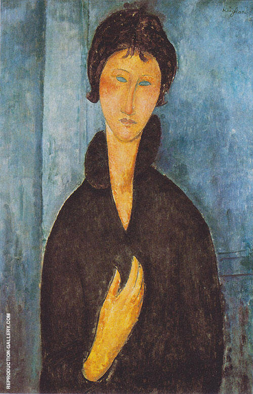 Woman with Blue Eyes 1918 B Painting By Amedeo Modigliani