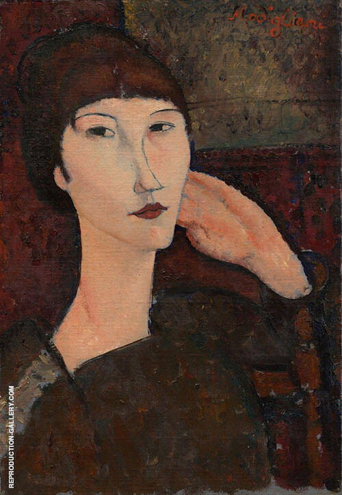 Adrienne Woman with Bangs 1917 By Amedeo Modigliani Replica Paintings on Canvas - Reproduction Gallery