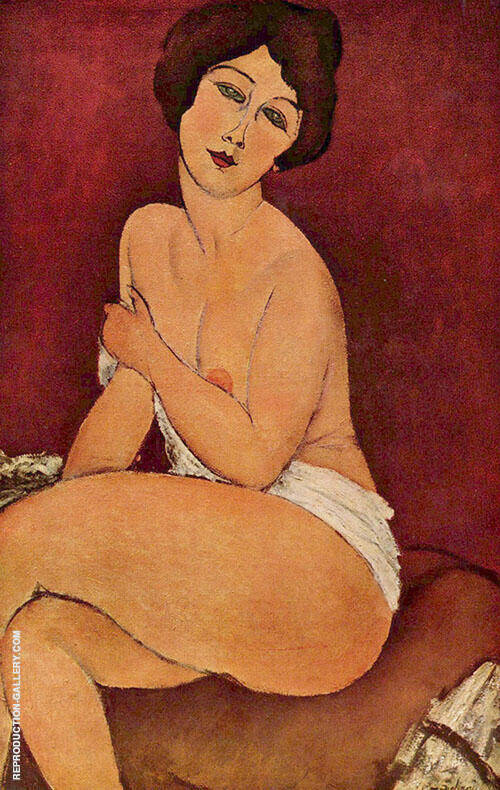 Nude Sitting on a Divan 1917 By Amedeo Modigliani