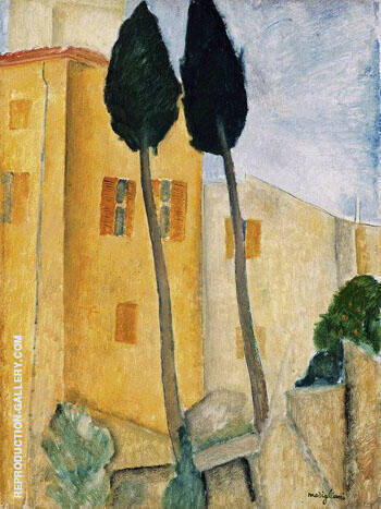 Cypress Trees and House By Amedeo Modigliani