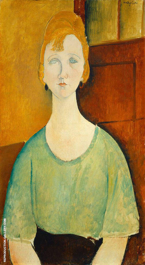 Girl in a Green Blouse 1917 By Amedeo Modigliani Replica Paintings on Canvas - Reproduction Gallery