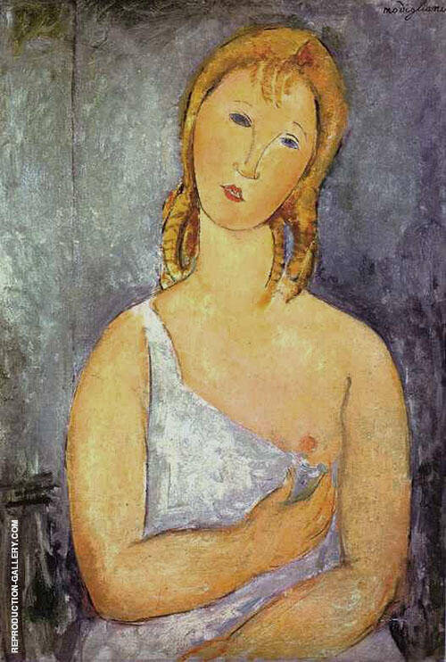 Girl in a White Chemise 1918 Painting By Amedeo Modigliani