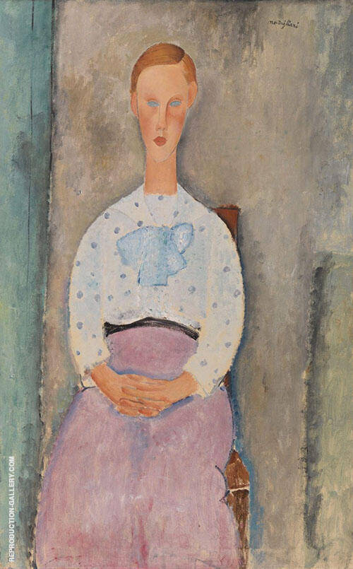 Jeanne fille au Corsage a Pois 1919 By Amedeo Modigliani Replica Paintings on Canvas - Reproduction Gallery