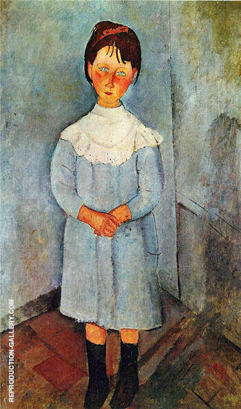 Little Girl in Blue 1918 By Amedeo Modigliani - Oil Paintings & Art Reproductions - Reproduction Gallery