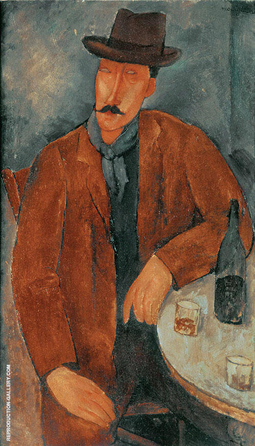 Man with a Wine Glass Painting By Amedeo Modigliani - Reproduction Gallery