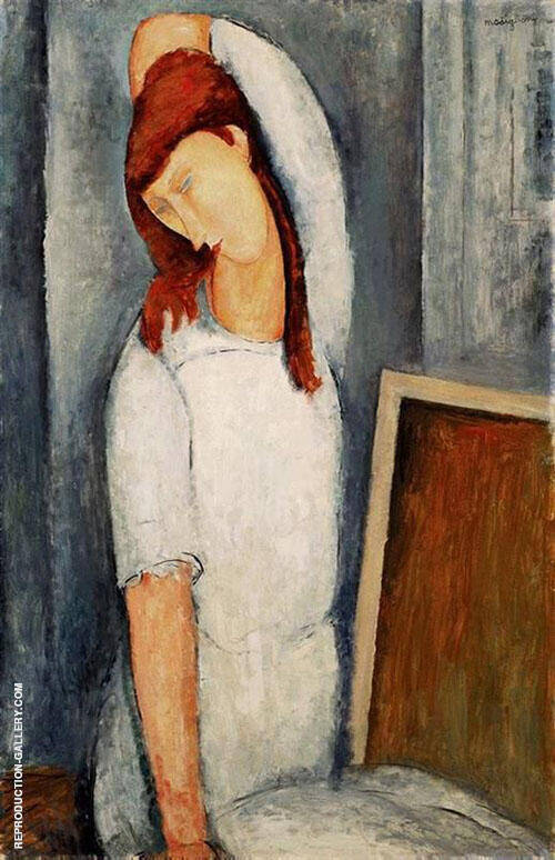 Reproduction of Portrait of Jeanne Hebuterne, Left Arm Behind Head 1919 by Amedeo Modigliani | Oil Painting Replica On CanvasReproduction Gallery